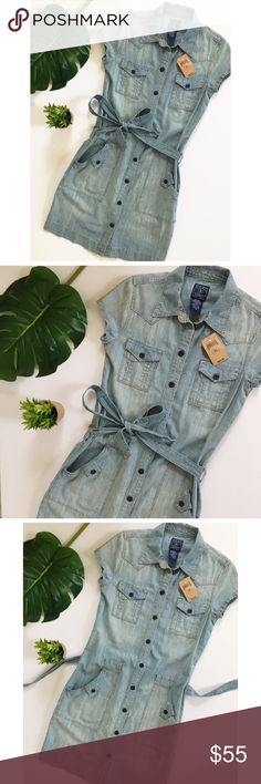 Lucky Brand Denim Jean Shirt Dress Button Up Adorable brand new with tags Lucky Brand cotton blue Denim short sleeved dress. Can be worn with or without tie belt. Tags attached. 100% cotton. Runs a little big- fits more like a small. Lucky Brand Dresses