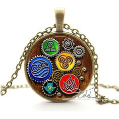 Fire Last Airbender Fire Nation Earth Kingdom Air Nomad Airbender Water Tribe sea wave Elements Pendant Necklaces Jewelry