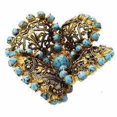 """#turquoise #antique #gold #filigree #dimensional #flower #brooch #vintage #costume #fashion #jewelry #sherisvintagecollections #nyshowplace…"""