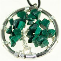 Malachite Tree of Life pendant with leather necklace  $35.00