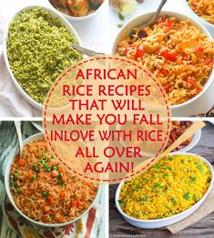 6 Amazing rice recipes that with make you fall in love with rice all over again! Many African dishes, particularly with soups and stews are best paired with rice. Rice can be made into some pretty tasty dishes –Be it as a side dish, an accompaniment or West African Food, South African Recipes, Ethnic Recipes, Rice Dishes, Tasty Dishes, Food Dishes, African Rice Recipe, Vegetarian Recipes, Cooking Recipes