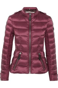 Plum shell Zip fastening through front  100% polyester; trim: 100% leather (Calf); filling: 70% down (Goose), 30% feathers (Goose) Dry clean  Designer color: Garnet Pink ImportedSmall to size. See Size & Fit notes.