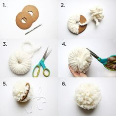 ▷ 1001 + Ideas for pompoms are made for borrowing- ▷ 1001 + Ideen für Pompons basteln zum Entlehnen The general six steps of making pompoms make a white pompon - Pom Pom Crafts, Yarn Crafts, Diy Crafts, Pom Pom Diy, Sheep Crafts, Pom Pom Garland, Diy Garland, Pom Pom Tree, Easy Craft Projects
