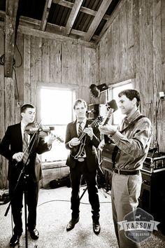 Three piece ensemble rocks the barn wedding reception.