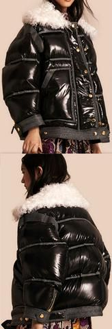 Black Thick Glossy Puffer Down Jacket with Lambs Wool Collar