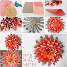DIY Dahlia Wreath flowers diy crafts home made easy crafts craft idea crafts ideas diy ideas diy crafts diy idea do it yourself diy projects diy craft handmade DIY Beautiful Paper Dahlia Wreath Very popular decoration for home, parties,… easy paper craf How To Make Paper Flowers, Paper Flowers Diy, Flower Crafts, Craft Flowers, Wreath Crafts, Diy Wreath, Paper Crafts, Wreath Ideas, Diy Ombre