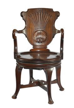 ~ A 19th Century Mahogany Swivel Desk Chair c. 1880 United Kingdom ~ onlinegalleries.com