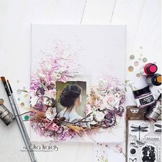 Olya Kravets, canvas, mixed media Mixed Media Scrapbooking, Scrapbooking Layouts, Altered Canvas, Altered Art, Mix Media, Butterfly Canvas, Diy Crafts For Gifts, Paper Crafts, Mixed Media Cards