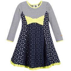 Deux Par Deux White & Blue Cotton Dress with Tulle  at Childrensalon.com