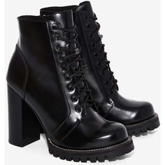 Jeffrey Campbell Legion Box Leather Boot (124.395 CLP) ❤ liked on Polyvore featuring shoes, boots, black leather shoes, high heel boots, black zipper boots, lace-up platform boots and lace up high heel boots