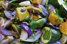 Just love the orange butternut squash, red onions & green courgette