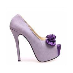 Peep Toe - Lilás com Laço - Sapatos via Polyvore