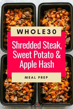 Steak, Sweet Potato & Apple Hash Meal Prep - Meal Prep on Fleek™ Steak Recipes, Lunch Recipes, Healthy Dinner Recipes, Diet Recipes, Easy Recipes, Whole30 Recipes, Healthy Dinners, Yummy Snacks, Seared Salmon Recipes