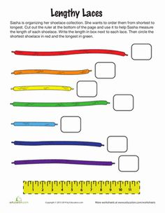 First Grade Measurement Worksheets: How to Measure with a Ruler, This activity would give students practice with using a ruler as well as showing the students how similar items may have different lengths. First Grade Measurement, Teaching Measurement, Measurement Worksheets, 1st Grade Math Worksheets, First Grade Math, Worksheets For Kids, Teaching Math, Maths, Math Vocabulary