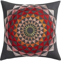 """CB2 Lotus Embroidered 18"""" Pillow With Feather-Down Insert"""