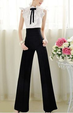 Vintage High Waist Solid Color Wide Leg Pants For WomenVintage Pants   RoseGal.com