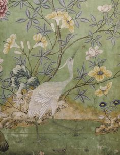 Detail of the Chinese wallpaper in the state bedroom, installed in the 1770s.