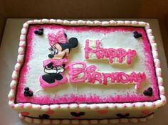Minnie Mouse Sheet cake: Cakes Sheet, Mouse Cake, Cake Ideas, Sheet Cakes