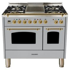 Ilve 40 Inch Nostalgie Series Dual Fuel Liquid Propane Range with 5 Sealed Brass Burners, cu. Total Capacity True Convection Oven, Griddle, with Bronze Trim, in White Stainless Steel Griddle, Ranger, Drawer Design, Up House, Farm House, Farm Cottage, Tiny House, Oven Cleaning, Kitchens