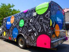 Vehicle branding, vehicle signage, mobile library, food truck design, van d Vehicle Signage, Vehicle Branding, Foodtrucks Ideas, Wrap Advertising, Impression Grand Format, Food Truck Design, Food Design, Pink Truck, Gif Disney