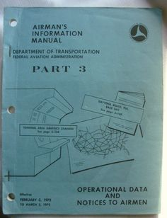 Vintage 1972 Obsolete Airman's Information Manual Part 3 DOT by RennerLaDifference on Etsy