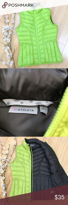 ATHLETA puffer vest, S. Lime/chartreuse. Athleta lime or chartreuse green puffer vest, size small. Dark chocolate interior, quilted, zippered pockets on the outside, chest, and on the inside. Very very good condition with lightest smudge (see pic). Almost like new.  The perfect warm layer for winter into spring! Athleta Jackets & Coats Vests