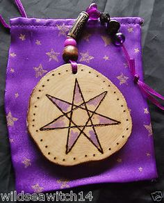 FAERIE STAR WOODEN CHARM, Lucky Elven Star Wall Hanging Talisman ♥ Pagan Wicca