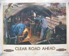 Clear Road Ahead, by Terence Cuneo. A typically lifelike Cuneo depiction of the footplate of 4-6-0 Castle class, former Great Western Railway, steam locomotive No 5037 'Monmouth Castle', with the driver at the controls looking along the straight track into the distance and the fireman shoveling coal into the firebox. Sold by originalrailwayposters.co.uk
