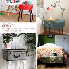 Use old things in fresh ways. Turn Vintage Suitcases into side tables. What a fabulous way to create a trendy luggage side table for storage to double as decor! http://www.tickledmummyclub.com.au/sage-frugal-tips/frugal-living/diy-dcor-tips-10-diy-vintage-suitcase-side-table-decorating-ideas