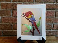 Vintage Parrot Metal Etching by Richard J. Eclectic Decor, Bird Prints, Parrot, Decor Ideas, Metal, Unique Jewelry, Handmade Gifts, Painting, Vintage