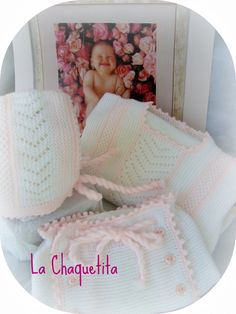Baby jacket, diaper cover and bonnet: garter stitch and lace in white with pale pink accents and crochet picot finish ~~ by La Chaquetita