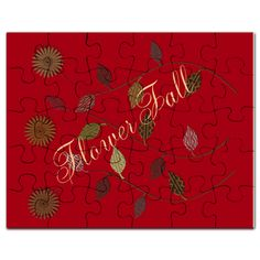 Flower Fall Textured Floral Red Puzzle on CafePress.com