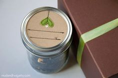 lovely kraft cover sewn canning jar labels by mudandtwig