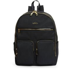 Kipling Tina Backpack (490 BRL) ❤ liked on Polyvore featuring bags, backpacks, gold zipper backpack, knapsack bag, kipling backpack, zipper bag and gold backpack