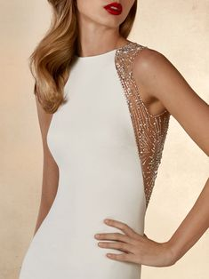 Minimalist mermaid dress in soft crepe with halter neckline and extraoridnary meteor beading on golden illusion back -- Galaxy by Atelier Pronovias