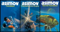 Asimov's original Foundation trilogy series with artwork by Chris Foss. These are the ones I read as a teenager. Love Foss' artwork. Very iconic.