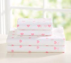 Organic Heart Sheet Set, Twin, Pale Pink