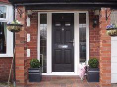 black front doors with side panels Best Front Doors, Black Front Doors, Wooden Front Doors, Composite Front Door, Door Picture, Number 10, Garage Doors, Exterior, Porch Ideas