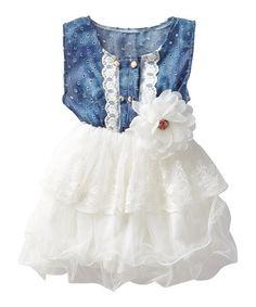 White & Denim Lace Eyelet Tutu Dress - Infant, Toddler & Girls by Knuckleheads #zulily #zulilyfinds