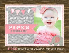 Elephant Girl Birthday Invitation - Printable - FREE pennant banner and thank you card with purchase