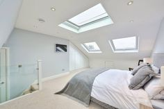 L-shaped loft conversion wimbledon modern style bedroom by homify modern l-shaped loft conversion wimbledon: Bedroom by nuspace Small Loft Bedroom, Attic Bedroom Designs, Loft Room, Attic Rooms, Modern Bedroom Design, Home Decor Bedroom, Girls Bedroom, Bedroom Furniture, Bedroom Ideas