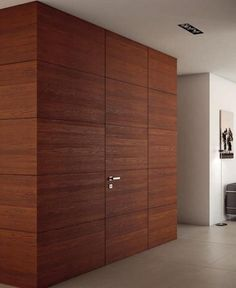 25 Ideas Enhancing Modern Room Design with Invisible or Eye Catching Interior Doors Interior Cladding, Wood Cladding, Interior Stairs, Interior Doors, House Front Design, Door Design, Cabinet Doors Online, Modern Room Design, Invisible Doors