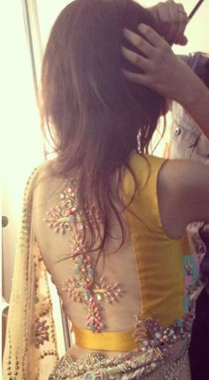 Stunning Embroidery On Sheer Back Yellow #Blouse.