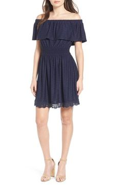 Trixxi Eyelet Ruffle Off the Shoulder Dress available at #Nordstrom