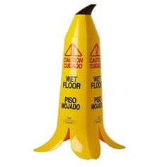 36 in. Banana Cone Multi-Lingual Caution Wet Floor Sign