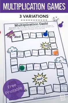 How To Produce Elementary School Much More Enjoyment This Adorable Set Of Printable Multiplication Games Is So Easy To Use-Just Print And Play And I Love That There Are Different Versions To Help Kids Focus On Specific Multiplication Skills Easy Math Games, Printable Math Games, Free Math Games, Math Card Games, Fun Math, Free Printables, Math Multiplication Games, Kindergarten Math Games, Teaching Math