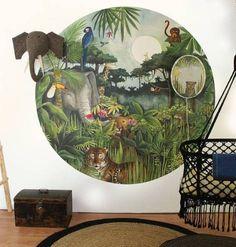 Tropical kid bedroom jungle animal wallpaper my fav deco inspiration в 2019 Tropical Bedroom Decor, Tropical Bedrooms, Jungle Bedroom, Baby Bedroom, Jungle Nursery, Kids Bedroom Sets, Room Ideas Bedroom, Kids Wallpaper, Animal Wallpaper