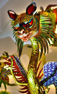 Alebrije-carved painted wood art from Mexico