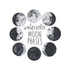 Moon Phases Watercolor Art Prints - Set of 5 Lunar Phases Prints - Moon Chart Posters - Mancave Decor Modern Gift Watercolor Moon, Watercolor Tattoo, Watercolor Quote, Theme Galaxy, Constellations, Lunar Phase, Clip Art, Moon Art, Moon Moon