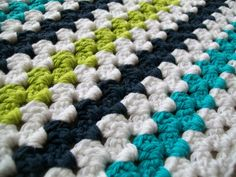 Modern Granny Stripe Baby Blanket--row of white between each row of color. From the Attic24 pattern